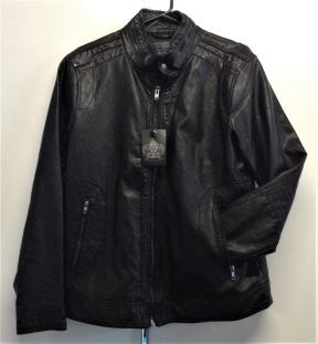 Berlin Mens Zip-Up Pleather Jacket in Black