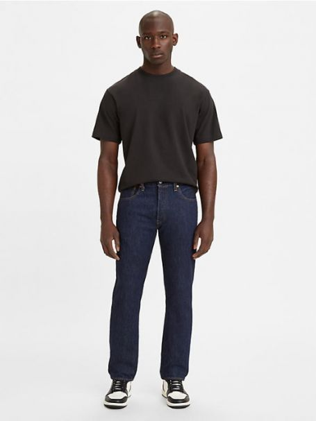 Men's Levi's 501 Original Fit Button Fly Straight Leg Denim Jeans in RINSE