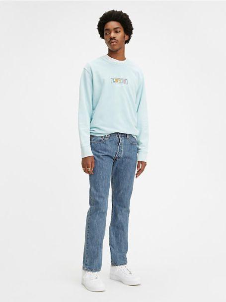 Men's Levi's 501 Original Fit Button Fly Straight Leg Denim Jeans in MEDIUM STONEWASH