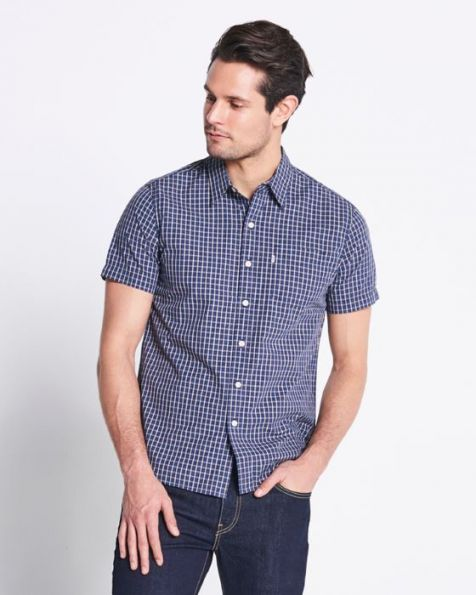 Men's Levi's Short Sleeve Classic One-Pocket Button-up Collar Check Shirt PURPLE PLUMERIA