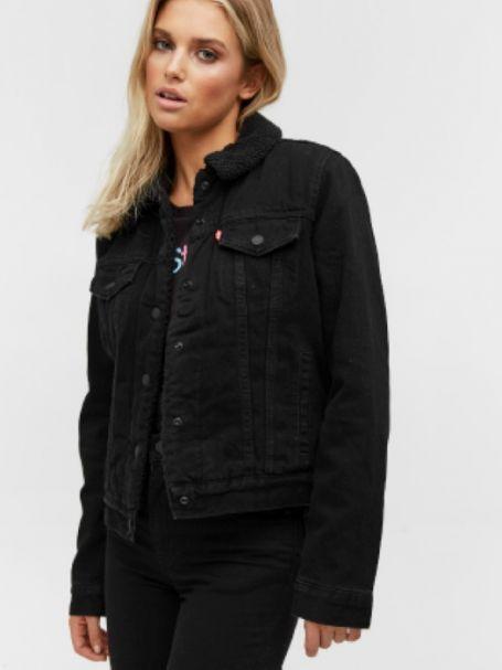 Ladies' Levi's Original Trucker Sherpa Denim Jacket in Forever Black