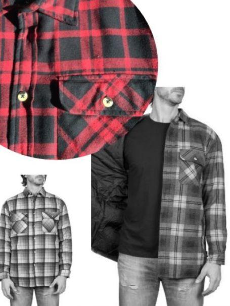 Adventureline Men's Quilted Flannelette Shirt - Red/Black Check