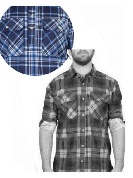Adventureline Men's Flannelette Shirt - Navy/Blue/White Check