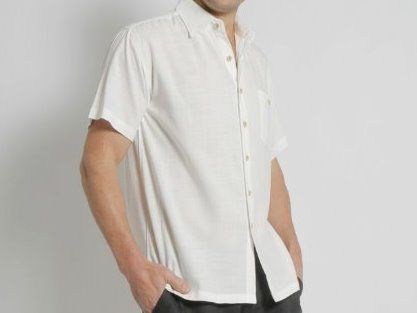 MENS BAMBOO LIGHT WEIGHT SHORT SLEEVE SHIRT - natural