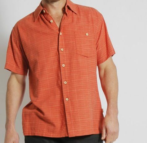 MENS BAMBOO LIGHT WEIGHT SHORT SLEEVE SHIRT - RUST