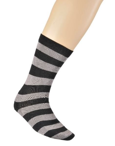 Bamboo Loose Top Business Socks - Black/Grey