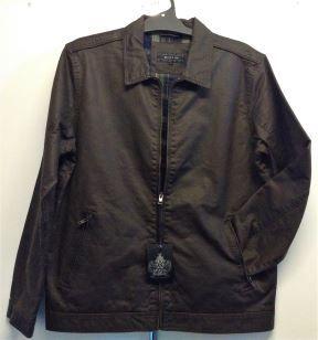 Berlin Mens Zip-Up Jacket in Expresso with Tartan Lining