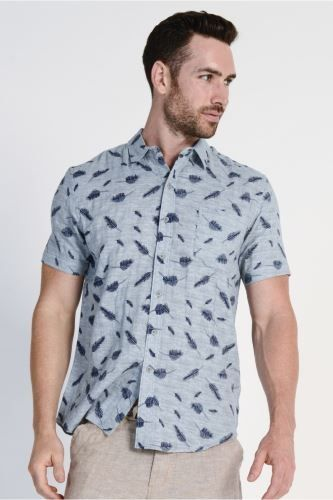 mst1722_sky4 Braintree Men's Hemp Cotton Short Sleeve Shirt Feather Print in Sky