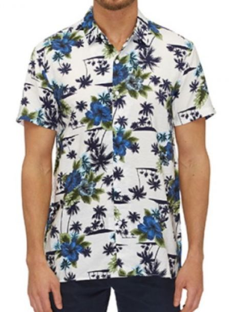 City Club Men's Short Sleeve Button-Up Collar Shirt KEANU White