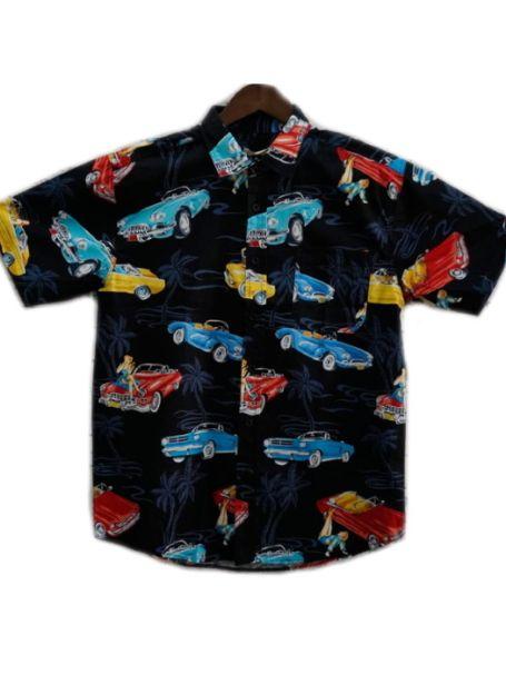 Men's Coast Highway Short Sleeve Shirt Vintage Cars/Black Background