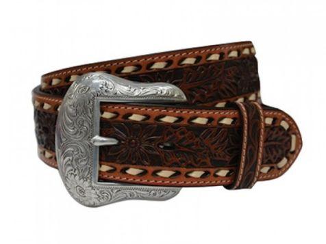 Twisted X Men's Floral Stitch Genuine Leather Belt