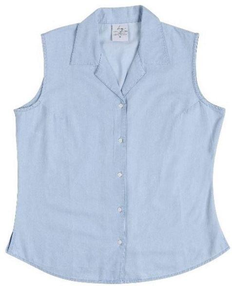 Ladies' Bamboo Denim Sleeveless Shirts: Chambray