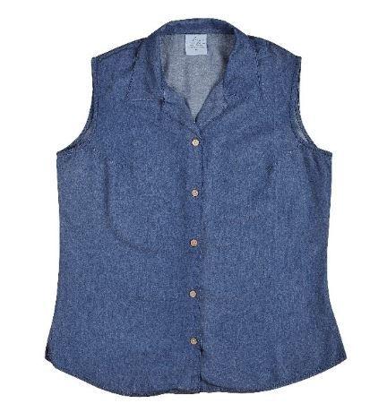 Ladie's Bamboo Denim Sleeveless Shirt in Indigo