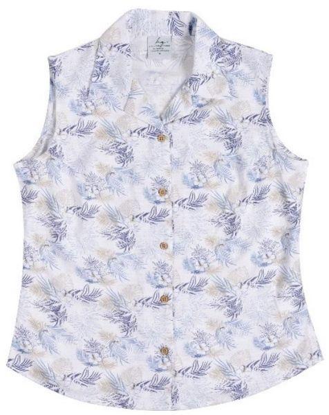 Ladies' Bamboo Fibre Sleeveless Shirts Blue Palm
