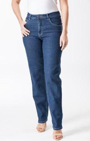 Ladies Corfu Original Rise Fuller Fit Straight Leg Stretch Jeans - Boulder Wash