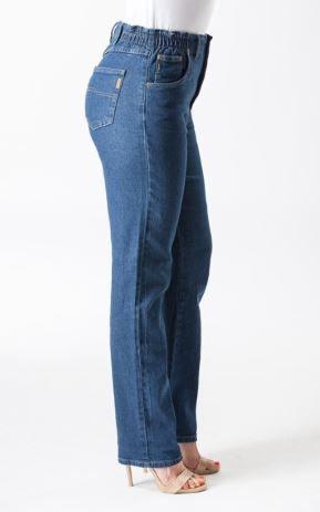 Ladies Corfu Original Rise Fuller Fit Straight Leg Stretch Trader Jeans - Boulder Wash