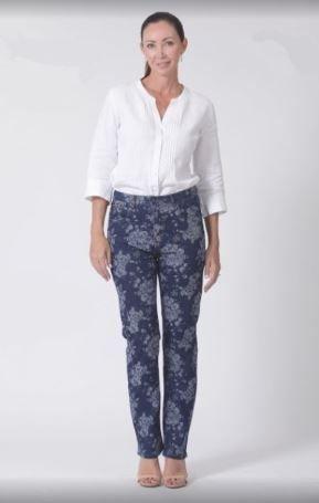 Ladies Corfu Original Rise Fuller Fit Straight Leg Stretch Jeans - Floral Print