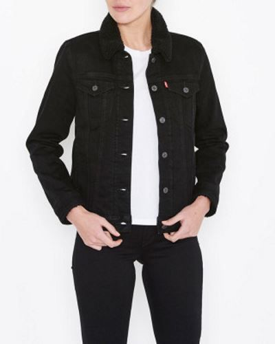 "Ladies Levi's Sherpa Trucker Denim Jacket - ""Black Harbour"" ladies fashion clothing"