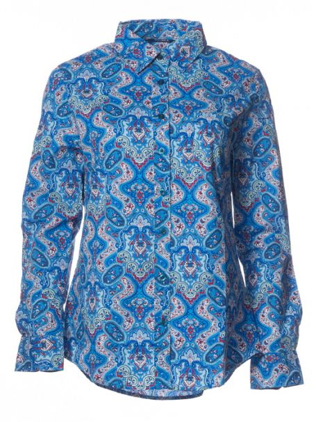 """Ladies' Outback """"Blue Floral"""" 100% Cotton Long Sleeve Button-Up Shirt"""