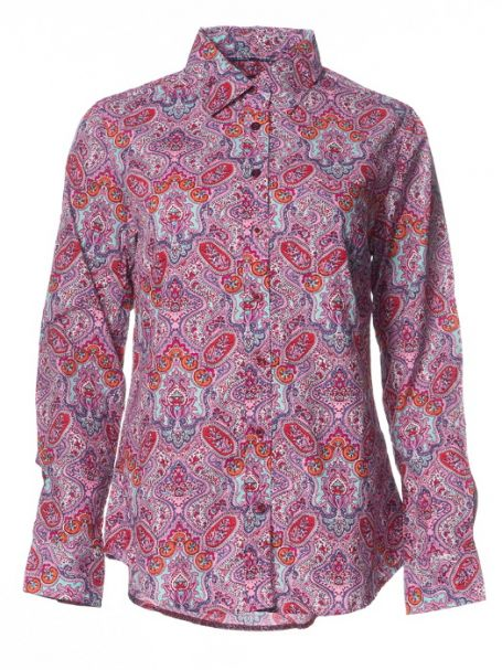 """Ladies' Outback """"Pink Paisley"""" 100% Cotton Long Sleeve Button-Up Shirt"""
