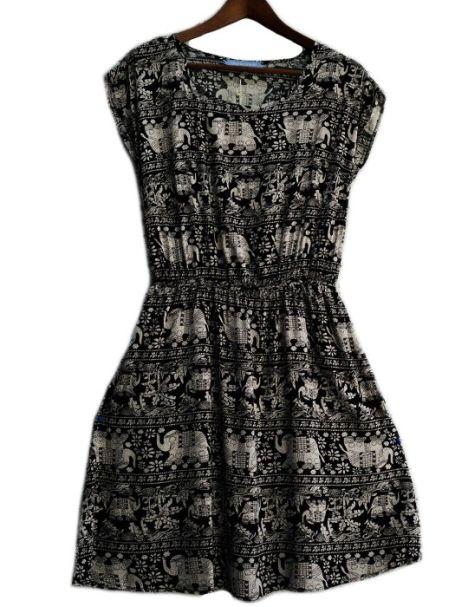 Ladies' Ozemocean Elephant Print Dress Black w/White Elephants