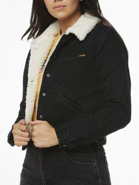 Ladies' Wrangler Blondie Sherpa Denim Jean Jacket HIGHWAY BLACK