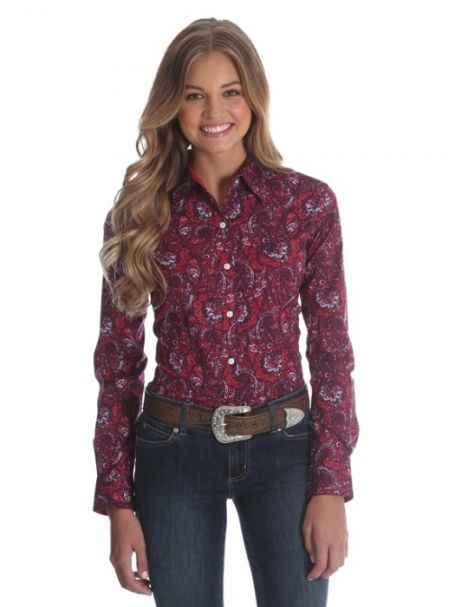 Ladies' George Straight For Her by Wrangler Long Sleeve Shirt Red/Blue Paisley Pattern