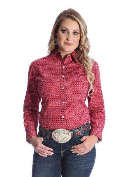 Ladies' George Straight for Her Long Sleeve Shirt Red/Navy Flower Print