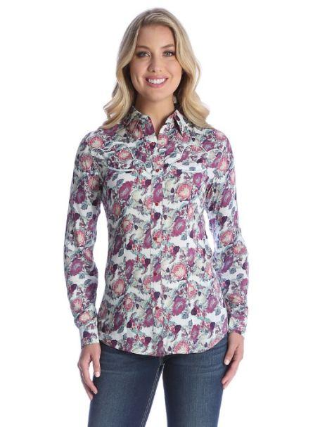 Ladies' Wrangler Long Sleeve Button Up Collar Shirt ROSE PRINT
