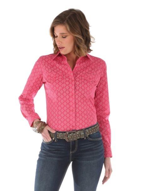 Ladies' Wrangler Long Sleeve Button Up Collar Shirt PINK