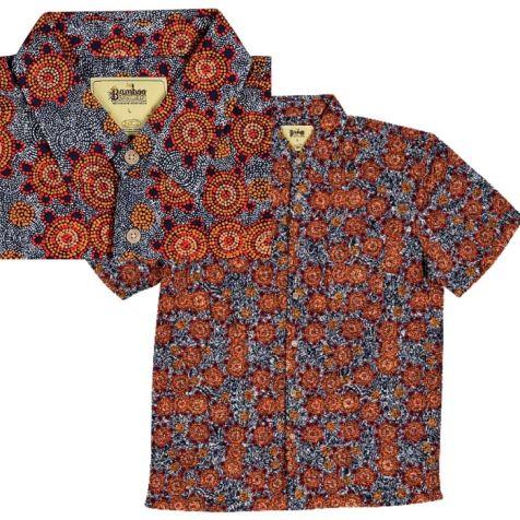 "Men's Bamboo Short Sleeve Shirt - ""Dreaming Range"" BUSH TOMATO"