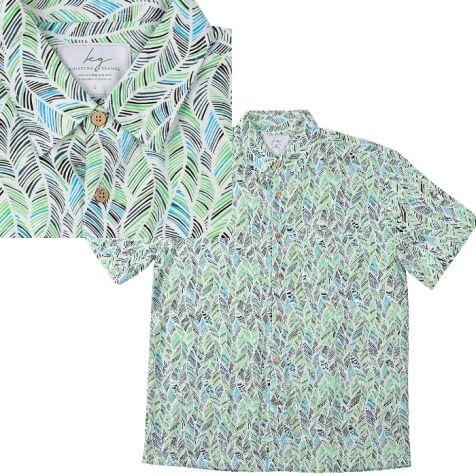 Men's Bamboo Short Sleeve Shirt GREEN LEAF