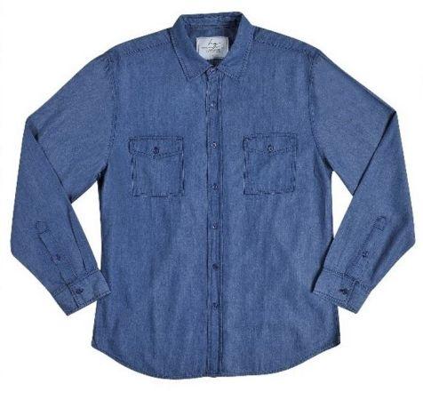 Men's Bamboo Denim Long Sleeve Slim Fit Cut Shirt in Indigo