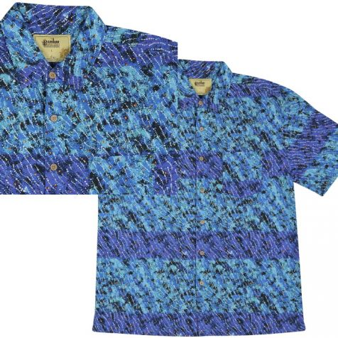 "Men's Bamboo Short Sleeve Shirt ""Dreaming Range"" YANJIRLPIRRI DREAMING"