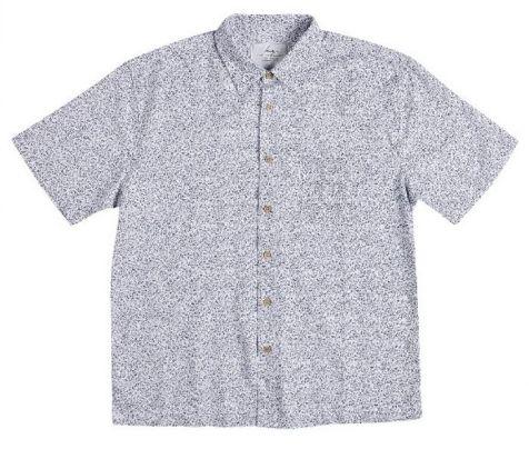 Men's Bamboo Short Sleeve Shirt in Navy Motif