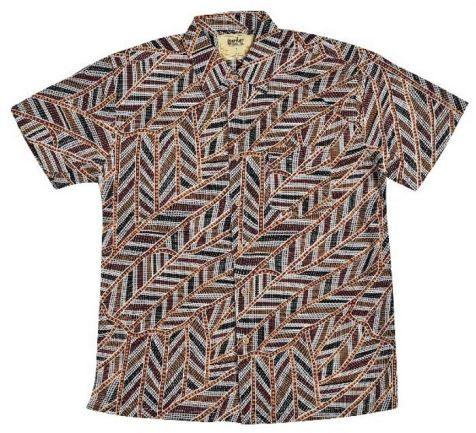 "Men's Bamboo Short Sleeve Shirt - ""Dreaming Range""- Kirrkala"