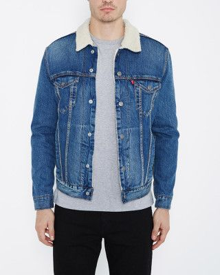 Mens Levi's Type 3 Sherpa lined Trucker Johnny Denim Jacket - Stonewash