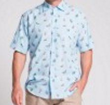 MEN'S HEMP COTTON BEACH CHAIR PRINT SHORT SLEEVE SHIRT-SKY