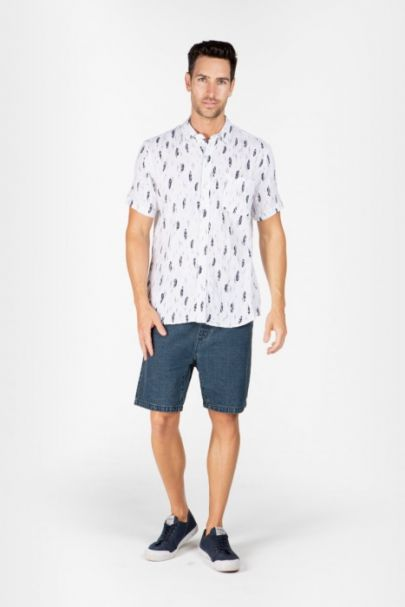 Braintree Men's Hemp/Cotton Short Sleeve Shirts White Feather
