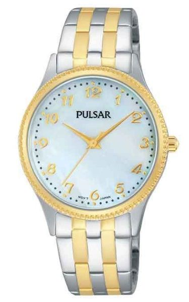 Pulsar Ladies Dress Watch - PH8140X - Stainless Steel Silver and Yellow Gold Bracelet with Mother of Pearl Face