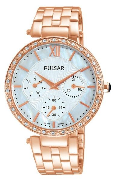 Pulsar Ladies Dress Watch - PP6214X - Stainless Steel Rose Gold Bracelet with Swarovski Crystal Elements