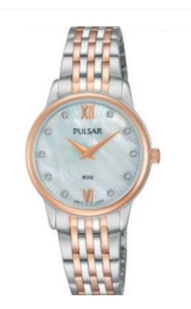 Pulsar Ladies Dress Watch - PM2208X - Stainless Steel Silver and Rose Gold Bracelet with Swarovski Crystal Elements