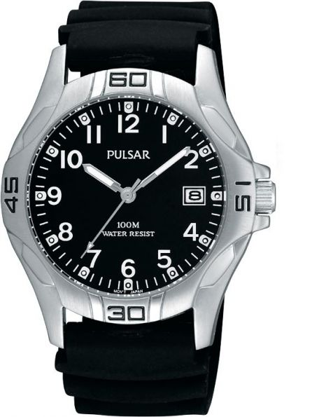 """Pulsar """"The Workman's Watch""""  PXHA13X -Black Face Stainless Steel Watch with Urethane Strap - Arabic Numerals"""
