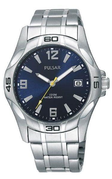 "Pulsar ""The Workman's Watch""  PXH443X - Dark Blue Face Stainless Steel Bracelet"
