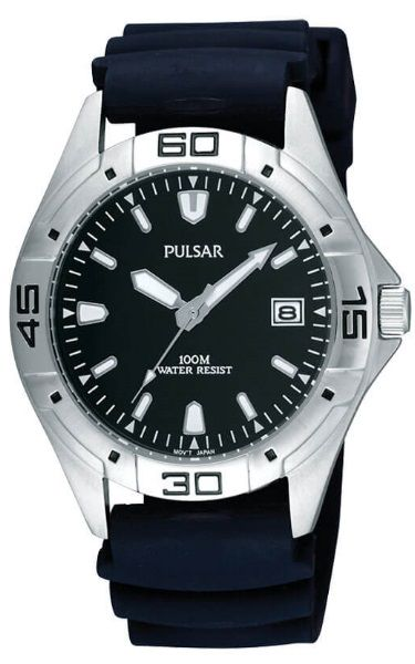 """Pulsar """"The Workman's Watch""""  PXH939X -Black Face Stainless Steel Watch with Urethane Strap"""