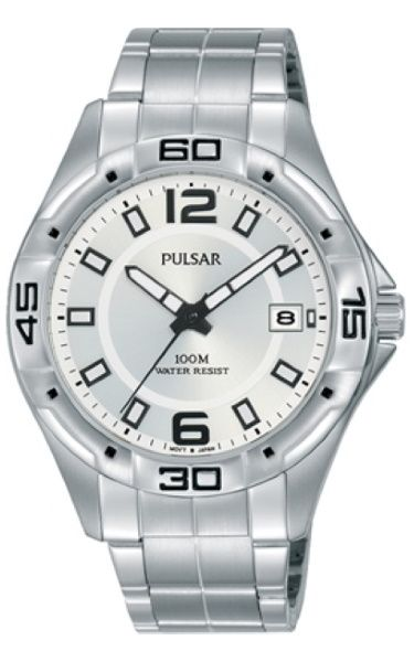 "Pulsar ""The Workman's Watch"" PXHA61X - Black Face Stainless Steel Bracelet"