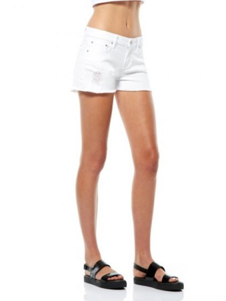 """Riders By Lee Ladies Bumster """"Cheeky"""" Denim Shorts - Coconut"""