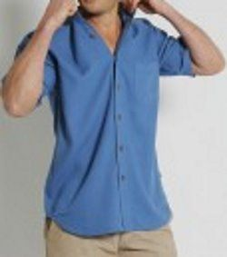 S14 MENS HEMP RAYON RELAX FIT SHORT SLEEVE SHIRT - BLUE