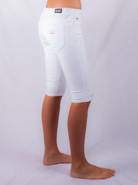 STAGGERS Ladies Supatube Bike Short -Stretch Denim - Low Rise -  Arctic White ladies fashion pants