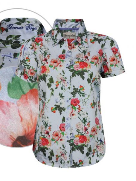 Ladies' Thomas Cook Short Sleeve Button Up Collar Shirt KATHERINE PRINT